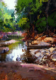 River amongst large stones in summer forest. Beautiful river amongst large stones in summer forest,digital painting Royalty Free Stock Photo