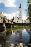 River Amper and Church St. Leonhard Stock Photo