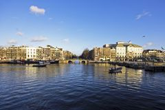 The river Amstel in Amsterdam Netherlands Royalty Free Stock Image