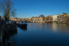 The river Amstel in Amsterdam Royalty Free Stock Photography