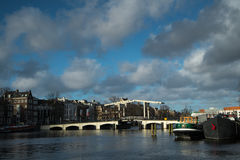 The river Amstel with the Magerebrug Royalty Free Stock Photography