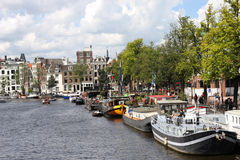 River Amstel on a sunny day, Amsterdam Stock Photos