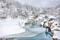 The river in an ancient village in Shirakawago. In Japan royalty free stock images