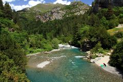 River Ara in Bujaruelo in the region of Aragón in Spain. The river Ara is a river in the northeast of Spain, on the southern slope of the Pyrenees, which royalty free stock photo