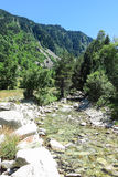 River of Aran valley, Spain. River of Aran valley in the Catalan Pyrenees, Spain. The main crest of Pyrenees forms a divide between France and Spain, with the Royalty Free Stock Images