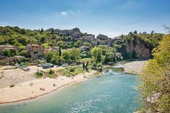 River Ardeche near the old village Balazuc in the Ardeche region. Balazuc, France, September 7, 2016: River Ardeche near the old village Balazuc which village is stock image