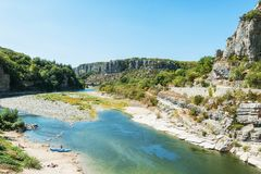 River Ardeche near the old village Balazuc in the Ardeche region. River Ardeche near the old village Balazuc which village is recognized as historical heritage royalty free stock image