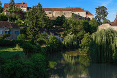 River Armançon, Semur-en-Auxois, Burgundy, France. Semur-en-Auxois is a commune of the Côte-d'Or department in eastern France royalty free stock photos