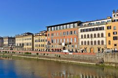 River Arno. Medieval buildings on the bank of river Arno, Florence, Italy stock photo