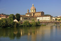 River Arno and church San Frediano in Cestello - Florence Royalty Free Stock Images