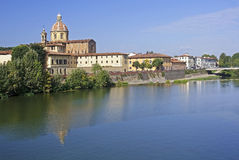 River Arno and church San Frediano in Cestello - Florence Royalty Free Stock Image