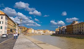 River Arno in the city of Pisa on a wonderful day - PISA ITALY - SEPTEMBER 13, 2017 Stock Photography