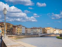 River Arno in the city of Pisa on a wonderful day - PISA ITALY - SEPTEMBER 13, 2017 Royalty Free Stock Photos