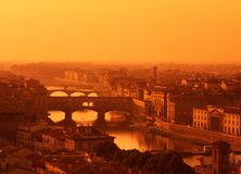 River Arno, Florence, Tuscany, Italy. River Arno and city skyline at sunset, Florence, Tuscany, Italy, Europe Royalty Free Stock Images