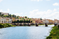 River arno. In florence, view to bridge Royalty Free Stock Image