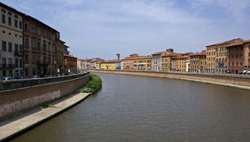 River arno in pisa. A right panoramic view of the river arno in pisa, Italy royalty free stock photos