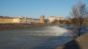 River Arno waterfall Italy Florence.  stock video footage