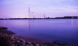 The river is very quiet at night stock images
