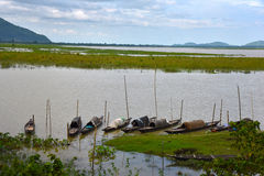River Of Assam. Fishing boats on the Brahmaputra river at Assam stock images