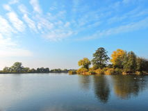 River Atmata and autumn trees, Lithuania Royalty Free Stock Images