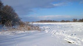River Atmata in winter ice Stock Photography