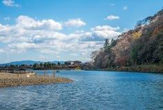 River in autumn in Arashiyama, Japan. River with colorful leaves in autumn season in Arashiyama region, Kyoto, Japan Royalty Free Stock Photo