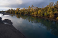 River in autumn Caucasus region from Russia. River Belyaya in Adygeya Caucasus region Royalty Free Stock Photo