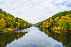 A river in Autumn. The Clarion river meandering through a valley in western Pennsylvania Stock Photo