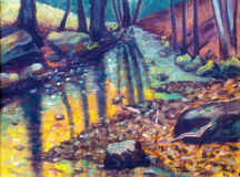 River in autumn forest,  oil painting. Royalty Free Stock Photography