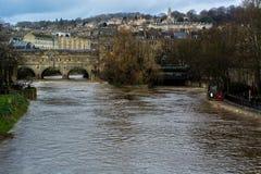 River Avon through Bath at very high level Royalty Free Stock Image