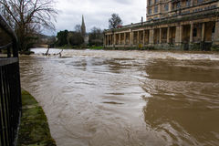 River Avon through Bath at very high level Stock Images