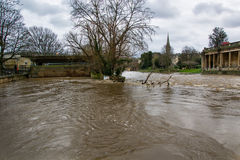 River Avon through Bath at very high level Royalty Free Stock Images