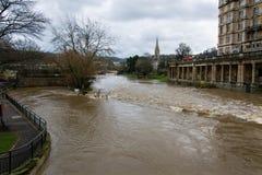 River Avon through Bath at very high level Stock Photos
