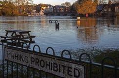 River Avon Bursts its Banks. Flooded River Avon at Fordingbridge 2014 Stock Photo