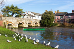 River Avon Christchurch Dorset England UK with bridge and green boat. Near to Bournemouth and the New Forest Stock Images