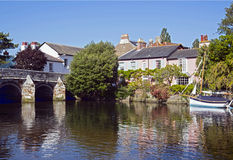 The River Avon Christchurch Dorset. Christchurch on the River Avon with reflections in the River Royalty Free Stock Photos