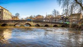River Avon flood waters under Bradford on Avon Bridge in Wiltshire, UK royalty free stock photo