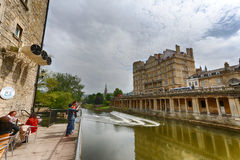 River Avon Weir (Bath, England) Stock Images