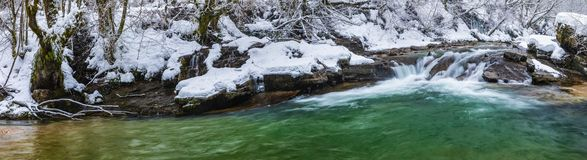 River with azure waters. In the winter stock image