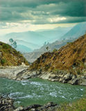 River on background of mountain ranges Royalty Free Stock Photo