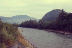 The river is on a background the mountains of Carpathians stock photos