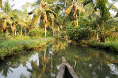 River of the backwaters at Kollam Royalty Free Stock Photos