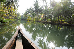 River of the backwaters at Kollam. On India Stock Image
