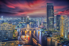 River in Bangkok city in night time. With bird view Stock Images