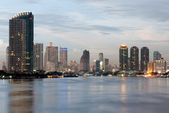 River of Bangkok. View of Bangkok  city from Krungthep bridge in the middle of Chao Phraya river Stock Photo