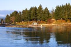 River Bank in Cascade Locks Oregon. Stock Photos