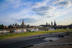 River bank of Dresden. People enjot nice weather and fantastic landscape of Dresden Royalty Free Stock Photos