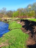 Soil Erosion Kishwaukee River Illinois. River bank erosion often occurs along meander bends such as this one in the Kishwaukee River in northern Illinois Stock Image