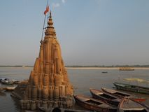 River bank ganges India. River bank ganges boats old india royalty free stock photography