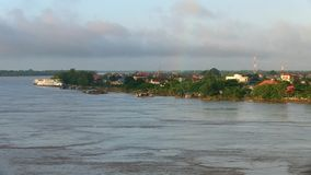 River bank, mekong, cambodia. River bank of Kampong Cham town , Mekong, Cambodia stock video